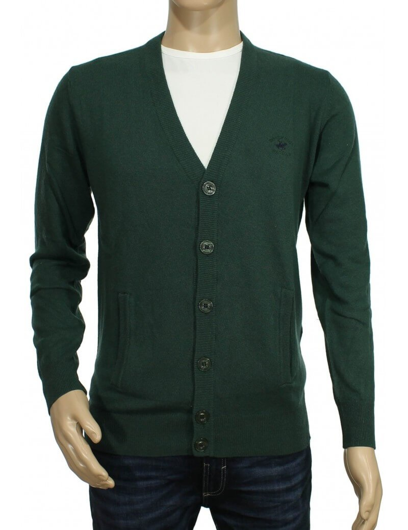 Beverly Hills Polo Club - Cardigan con bottoni verde