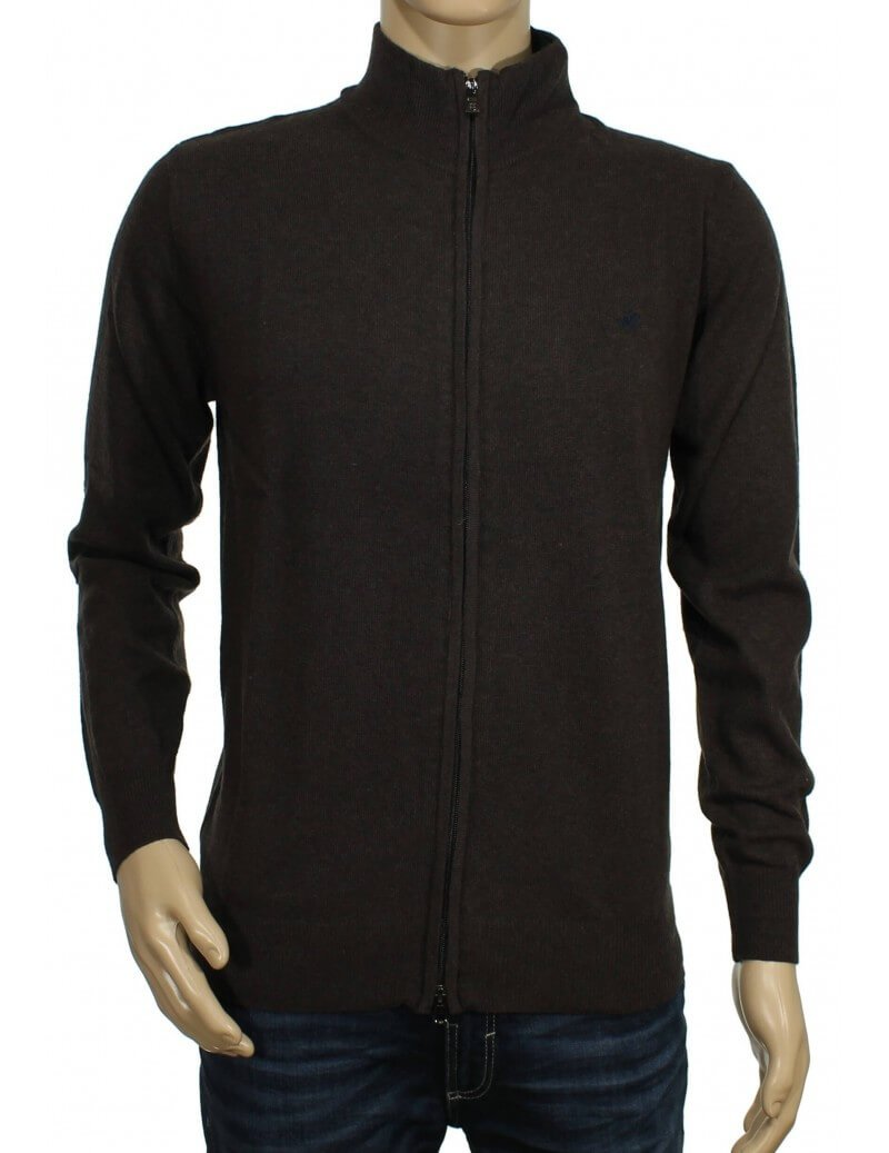 Beverly Hills Polo Club - Cardigan con zip marrone