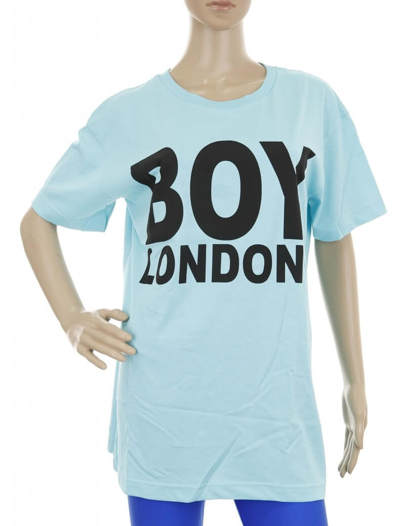 Maglietta Boy London celeste stampata